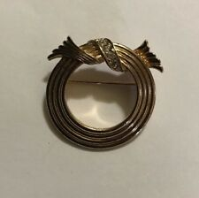 Avon Gold Tone W/Rhinestones Round Brooch Pin Costume Jewelry