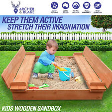 Kids Outdoor Square Sand Pit Toy Children Wooden Bench Backyard Play Set 95cm AU