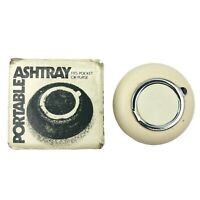 "Vintage Portable Ashtray 2.5"" Fits Pocket Or Purse White Flip Top Mid Century"