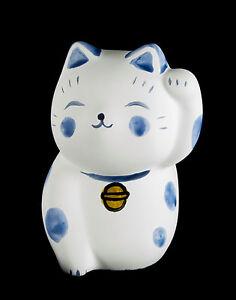 Figurina Gatto Giapponese Bobtail Resina-Maneki-Neko Bianco Blu Raccolta 373 D5