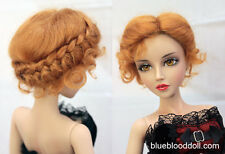 "1/3 bjd 8-9"" doll head carrot red real mohair vintage wig dollfie #W-JD089M3L"
