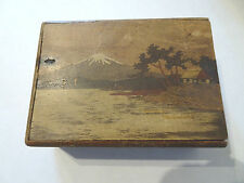 JAPANESE MOUNT FUJI MARQUETRY WOODEN BOX OLD VINTAGE