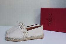 NEW sz 5 / 35 Valentino Rockstud Ivory Leather Fringed Espadrille Flat Shoes