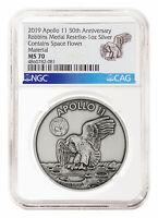 1969-2019 Apollo 11 Robbins Medals 1 oz Silver Antiq Medal NGC MS70 SKU55134