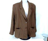 Alfred Dunner Blazer Jacket Button Up Women Size 12 Brown Career Long Sleeve