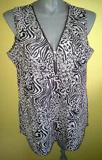 Ladies Womens Casual Tank Top Blouse Sleeveless Zipper V Neck Crossroads Size 22