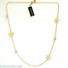 "NEW GUESS GOLD TONE FLOWER+CRYSTAL BALL ACCENT 32"" LONG NECKLACE"