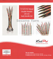 KnitPro Symfonie Wood Double Pointed Sock Needle Set 2.5 - 5mm length 20cm