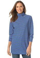 1X (22W 24W) Woman Within Long Sleeve Blue Stripe Turtleneck 22/24