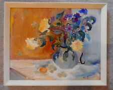 VINTAGE AMERICAN STILL LIFE OIL PAINTING ON CANVAS BOARD PALETTE KNIFE SIGNED