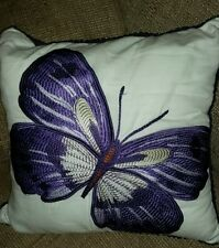 Designer Butterfly Embroidered Decorative Cushion Pillow (18x18) New $100