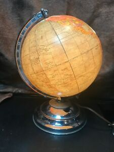 Vintage 8 Inch Illuminated Globe By Legend.On Chrome Base With Chrome Axis.1950s
