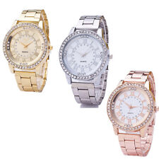 Women Stainless Steel Wrist Watchs Analog Quartz Crystal Rhinestone Bracelet