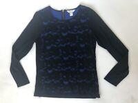 Christopher & Banks M Medium Black Lace Blue Top Shirt Long Sleeved
