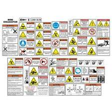 Mini Excavator Safety Decals Kit
