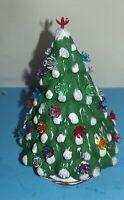 "Christmas Tree Ceramic Vintage 10.5"" tall Green & White w 35 Plastic mini Lights"