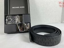 Michael Kors Men's BELT Gift Set Reversible Signature MK Leather in Black