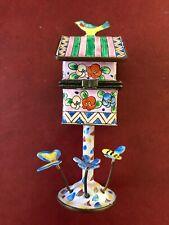 Kelvin Chen Enamel Copper Handpainted Birdhouse bird house mini Open Box Flower