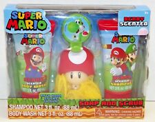 New Super Mario Soap And Scrub with Yoshi bath Hook Sticks to Tile Berry Scented