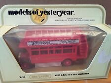 Matchbox Yesteryear Y-23 Schweppes 1922 A.E.C.'S' Type OmniBus In Box