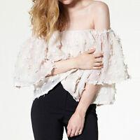 Women Sexy Off Shoulder Chiffon Blouse Shirt Casual Summer Beach Lace Crop Top*