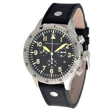 Messerschmitt Aristo señores cuarzo cronograph 5030ls vintage pulsera de cuero 5atm