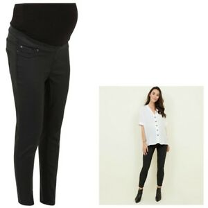 Maternity New Look Over Bump COATED Jeggings Jeans BNWT Black Sizes 10 12 18