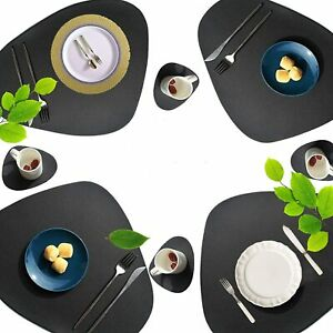 Leather Placemats And Coasters Set Washable Resistant Dining Home Set of 2/4/6/8