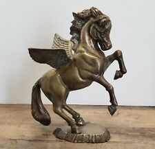 Vintage Brass Rearing Pegasus Statue - Mythical Winged Horse
