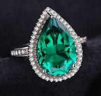 White gold finish Pear cut green emerald created diamond ring