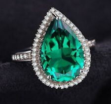 White gold finish Pear cut green emerald created diamond ring