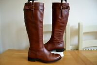 ECCO ITALIAN CHESTNUT LEATHER KNEE HIGH RIDING BOOTS UK 4 EU37 RRP £220