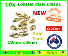 10x Gold Plated Metal Lobster Claw Clasps Clasp Hooks 10mm x 5mm Bracelet Chain