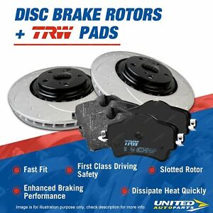 Front Slotted Brake Rotors TRW Pads for Nissan Navara D22 4WD 2.5L
