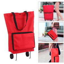 Foldable Shopping Trolley Bag with Wheels Collapsible Shopping Cart W8E9