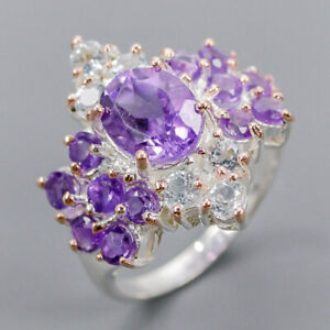 Amethyst Ring Silver 925 Sterling Vintage Size 7 /R148046