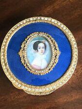 Guilloché Enamel Compact Hand Painted Portrait Gilt Metal Crystal Set Box