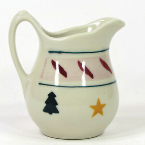Hartstone Pottery STARS & TREES 8oz Creamer Pine Christmas Red Leaf Vintage 1983