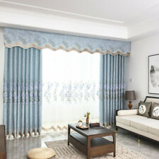 Floral Embroidery Chenille Curtain Drape Fabric Room Sun-shade Semi-finished Sew