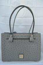 NWT $298 Dooney & Bourke Ostrich Janine Satchel Bag Grey