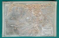 """GERMANY Eisenach City Town Plan  - 1912 MAP Baedeker 4 x 6"""" (10 x 15,5 cm)"""