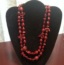 """Vtg Dyed Red Browns Nut and Seed Shells Hand Beaded 48"""" Necklace *Sale 50% OFF*"""