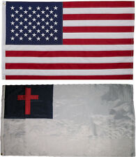 USA and Christian Flag 3x5 EMBROIDERED 2 double sided Flag Wholesale Lot