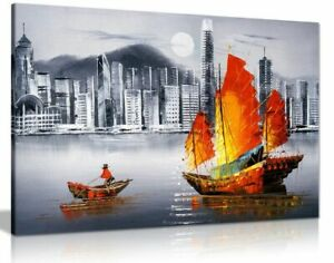 Hong Kong Harbour Boat Oil Painting Canvas Wall Art Picture Print
