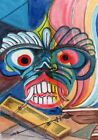 ACEO Original Art Card Ceylon Demon Mask Painting Ghost Colorful Gifts Friends