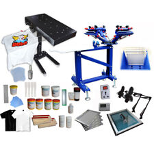 Adjustable 4 Color 1 Station Screen Printing Kit Silk Screen Press & Flash Dryer