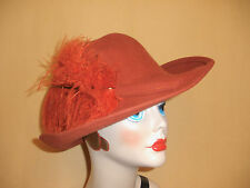 Shakespeare Inspired Rust Wool Felt Wide Brim Hat w/ Large Ostrich Feather