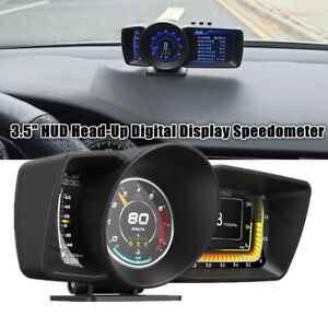 3.5'' Double Screen Smart OBD2 With GPS Gauge HUD Head-Up Speedometer Turbo RPM