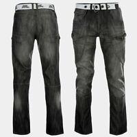 NO FEAR Belted Cargo Jeans Mens Trousers Zip Fly BLACK 34W LONG  B521-13