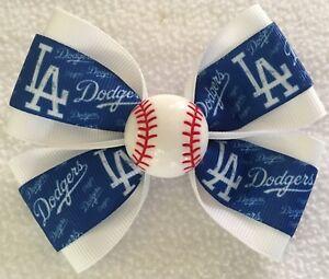 """Girls Hair Bow 4"""" Wide Dodgers Baseball White/Blue Grosgrain French Barrette"""